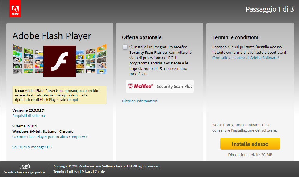 Scarica adobe flash player